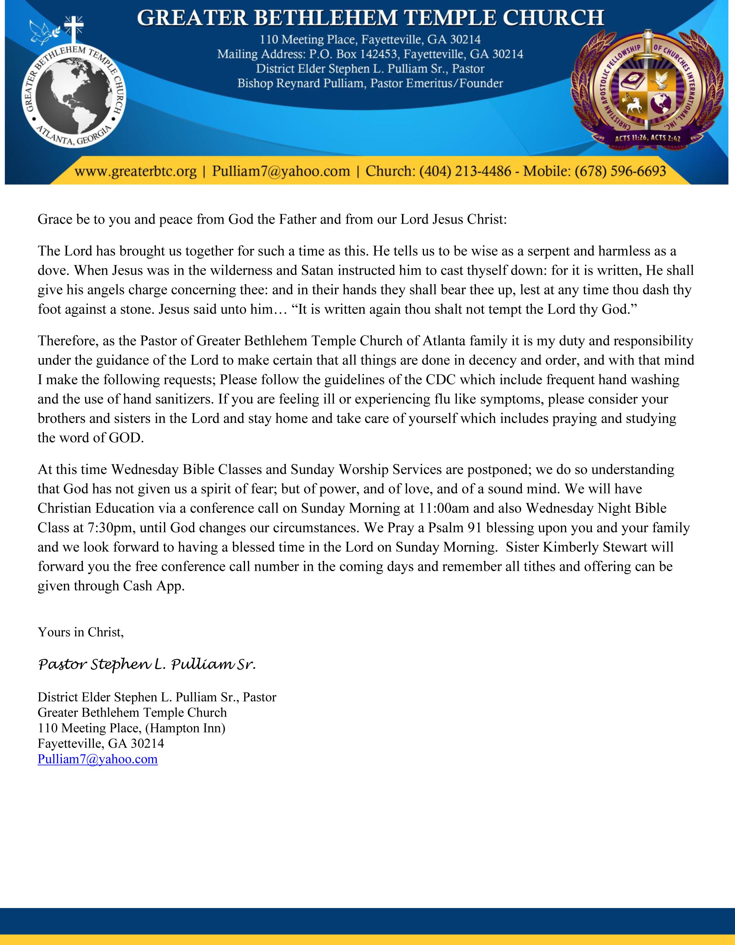 GBTCA March 18, 2020 Letter